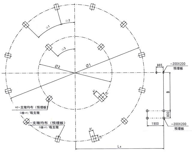 xhh型澄清池,缓冲池基础平面布置图